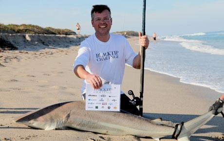 A hammerhead shark caught during the 2013 Blacktip Challenge shark fishing tournament